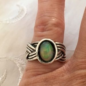 Retired Sterling Silver Pandora Opal Braided Ring